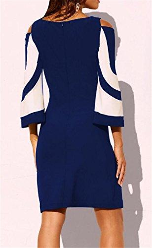 Shoulder Dress Cut Round Color 1 Bodycon Cocktail Womens Contrast Out Domple Neck 6Cwq8TH