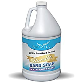 Antibacterial/Antimicrobial Finesilk White Pearlized Lotion Liquid Hand Soáp: Bulk One Gallon (128 oz) Refill Jug. PH Balanced Ultra-Strength. Made In USA