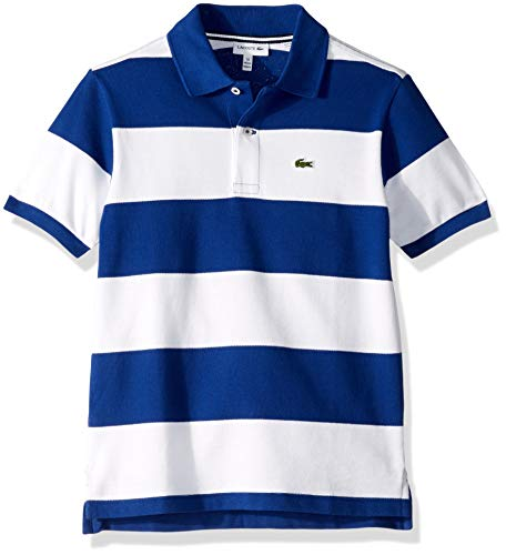 Lacoste Little Boys' Striped Cottom Pique Polo, Captain/White, 6YR