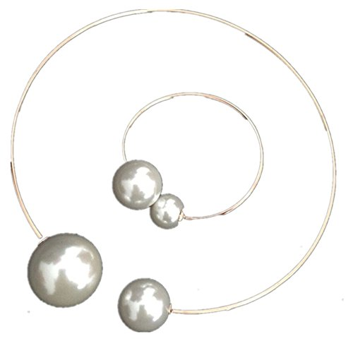 WIIPU Shiny Wire Hook Loop Big White Pearl Choker Bib Collar Necklace Bracelet Set(D781) Pearl Wire Necklace