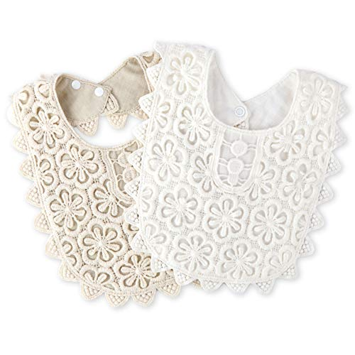 2-Pack Baby Bibs LIVEBOX New Lace Fake Collar Baby Bandana Bib for Drooling and Teething with Snap, 100% Organic Cotton Bib Burp Cloths for Baby Girl, Baby Shower Gift Set (White+Beige) ()