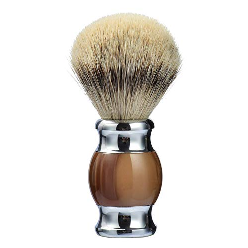 100% pure silvertip badger hair shaving brush, handmade shaving brush with fine resin handle and stainless steel base,travel well (brown)