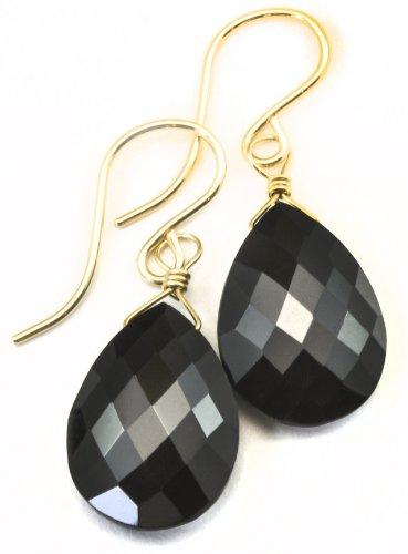 Gold Spinel Earrings - 14k Gold Filled Spinel Earrings Black Faceted Teardrop Dangle Style Teardrop