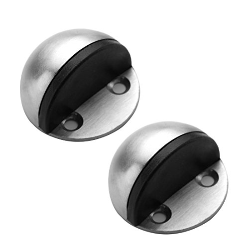 TPOHH SUS304 Brushed Stainless Steel Half Dome Floor Door Stop with Catch Screw Mount - 2 PCS