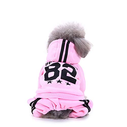 Futemo Pet Hoodie Sweatshirts Fashion Coats Clothes Outfits for Small Dog Cat Puppy Winter Apparels (M, Pink)
