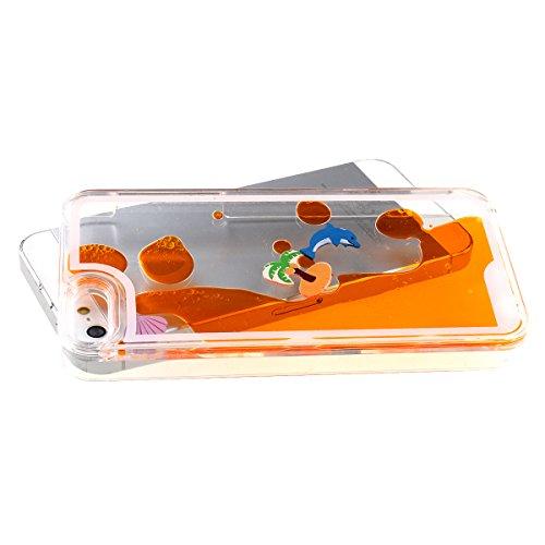 Etche iPhone 5 Case,liquide Case pour iPhone 5S,Couverture pour iPhone 5,Clear Case pour iPhone 5,Hard Case pour iPhone 5,Liquid Dolphins Cocotiers Hard Case pour Apple iPhone 5 5S avec Blue Stylet et