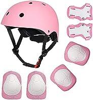 Kids Bike Helmet Toddler Helmet for 3-8 Years Boys Girls, Adjustable Skateboard Helmet with Knee and Elbow Pad