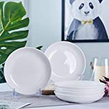 AceElite Pasta Bowls Set of 6,White Ceramic Salad