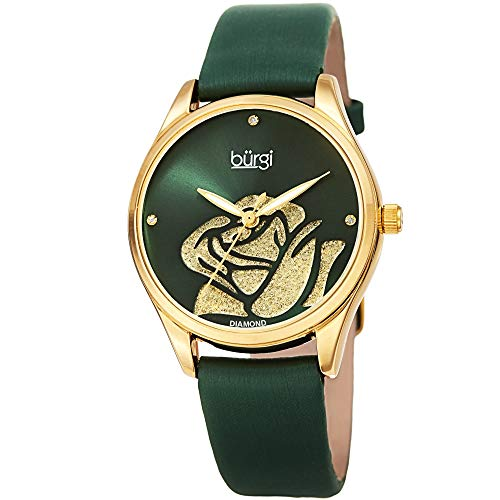 Burgi Womens Diamond Accented Flower Watch - Rose Cut-Out Dial with Glitter Powder with 4 Diamond Hour Markers On Satin Leather Strap Watch - BUR189 (Green)