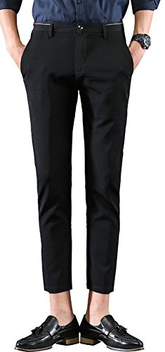 Plaid&Plain Men's Casual Stretch Flat Front Dress Pants Slim-Tapered Suit Pants 661Black - Pants Dress Cropped