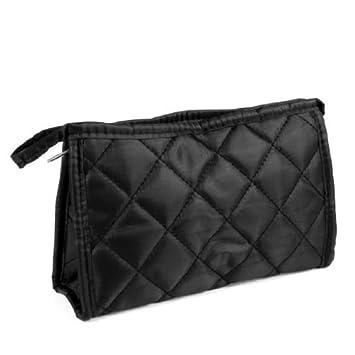 eDealMax Negro Rombo Impreso Zip up Rectangular cosmética del monedero del bolso del organizador del maquillaje
