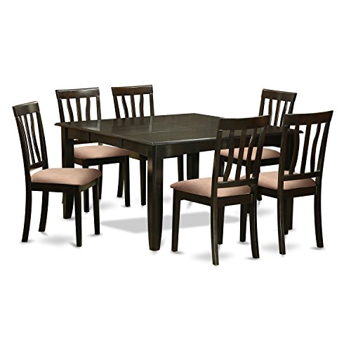 East West Furniture PFAN7-CAP-C 7Piece Dining Table Set for 6-Square Dining Table with Leaf & 6 Dining Chairs