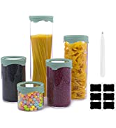 Luvan 5 Pack Glass Jars and Storage Canister Sets with Airtight Silicone for Kitchen Pantry organ...