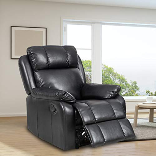 BestMassage Recliner Chair Leather Sofa Recliner Couch Manual Reclining Home Theater Seating Manual Recliner Motion for Living Room - Leather Theater Home Recliner