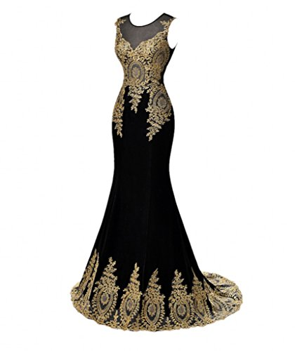 Winnie Bride Long Gold Appliqued Evening Dress for Women Party Formal Prom Dress-18W-Black