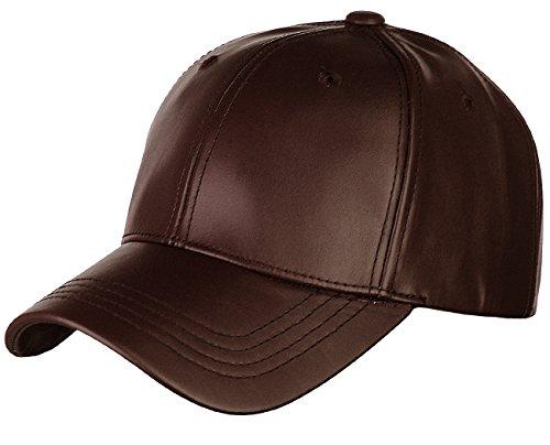 NYFASHION101 Unisex Adjustable PU Leather Precurved Bill Baseball Cap Hat, Brown](Womens Brown Baseball Caps)