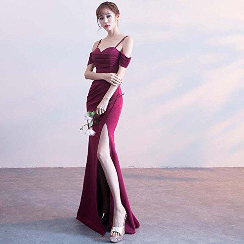 Larga Rojo Banquete Sección Rojo Sexy Noche Vestido Metro Falda Hembra Hombro Pre color Ajustable Tamaño Formal Moda De Vino Correa Sirena bifurcación HpFqY