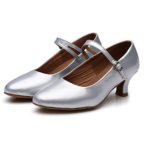 HROYL Zapatos de baile/Zapatos latinos de PU mujeres ES-MD225 Plateado