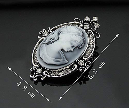 Vintage Cameo Flower Crystal Queen Beauty Head Brooch Pin Bridal Wedding Jewelry (Choose-Style - Ancient Silver #3) (Cameo Vintage Clutch)