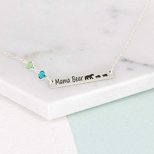 Personalized Mama Bear Bar Necklace with Birthstone Crystals by Wickedly Mod, Gift for Mom, Sister, Grandma Gold or Silver