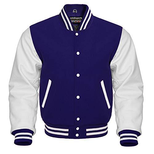 Premium Letterman Baseball School College Bomber Varsity Jacket Wool Blend & Genuine Leather Sleeves (Navy Blue/White, 2XL) (Men Team Varsity Jackets)