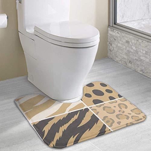 Bennett11 Animal Print U-Shaped Toilet Floor Rug Non-Slip Toilet Carpets Shower Mat Nonslip Toilet Floor Mat 19.2″x15.7″