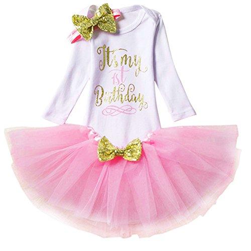 4d7f99a17ee4 Newborn Baby Infant Toddler Girls It s My 1st 2nd Birthday Cake Smash Shiny  Printed Sequin Princess Dress Romper Tutu Skirt Bowknot Headband Leg  Warmers ...