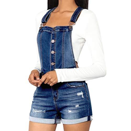 - Nadition Ladies Fashion Denim Jumpsuit Women Casual Button Camisole Solid High Waist Summer Short Jumpsuit