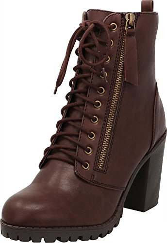 (Cambridge Select Women's Lace-Up Closed Round Toe Chunky Heel Moto Combat Boot,8.5 B(M) US,Brown Pu)