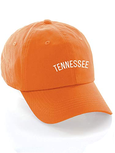 Daxton USA Cities Baseball Dad Hat Cap Cotton Unstructure Low Profile Strapback - Tennessee Orange White