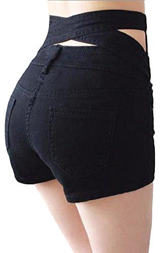 ブラジャー破壊風が強い[ディアアンナ] バック クロス セクシー チラ見え ホットパンツ ショートパンツ 前ボタン ファスナー ポケット ハイウエスト 大きいサイズ 白 黒 紺 S M L XL