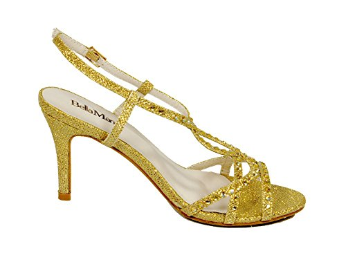 Bella Marie Helena-17 Strappy Slingback Damessandals Voor Dames Met Strass-steentjes - Glittery Goud - Maat 10 M
