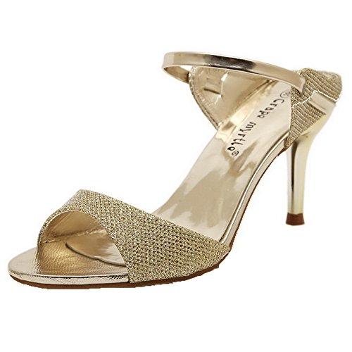 AalarDom Mujer Puntera Abierta Pu Sólido Sin cordones Sandalias de vestir Gold