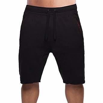 BROKIG Men's Gym Fitted Bodybuilding Shorts Workout Running Athletic Cotton Sweat Shorts (L, Black)