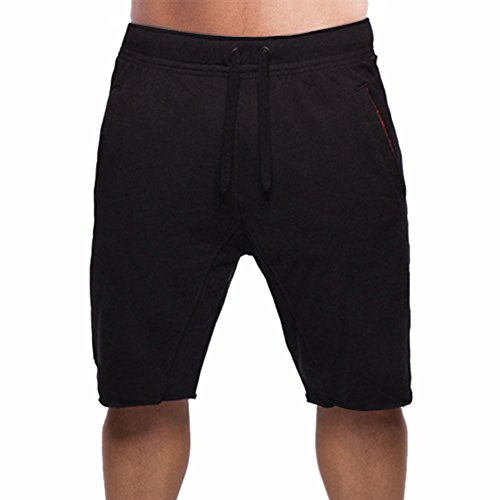 BROKIG Men's Fitted Jogging Shorts, Casual Cotton GYM Fitness Bodybuilding Active Running Short Pants (XL, Black)