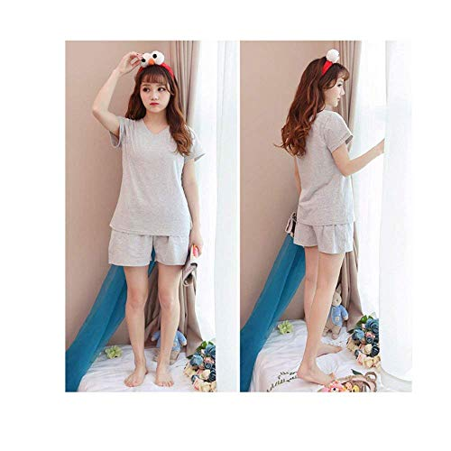 Basic Camison Larga Pantalones Tops Otoño De Ropa Primavera Fashion Mujer cuello Impresión Pants Elegante Pijama Dormir Grey 2 Conjunto V Manga Pijamas Pedazos wp8OqaF