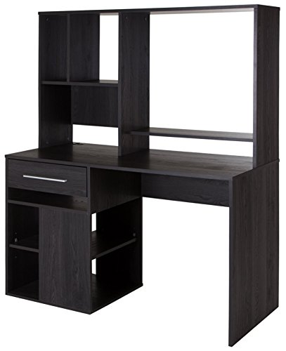 South Shore Narrow Home Office Computer Desk with Hutch, Gray Oak