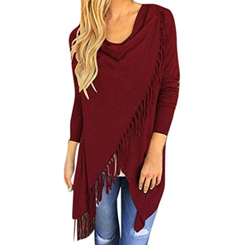 Chemisier Blouse Beikoard Tops Gland T-Shirt Casual Tops T-Shirt Lâche Manches Longues Chemisiers T-Shirts Blouse Tops Gilet The Perfect Tee T-Shirt Femme Vin Rouge
