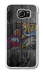 Samsung Galaxy S6 Case, Hard Crystal Clear Transparent Plastic Bumper Case for Samsung Galaxy S6 with Back Photo Wood Four Philadelphia Team