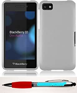 Bloutina Accessory Factory(TM) Bundle (the item, 2in1 Stylus Point Pen) For Blackberry Z10 Rubberized Cover Case - White...