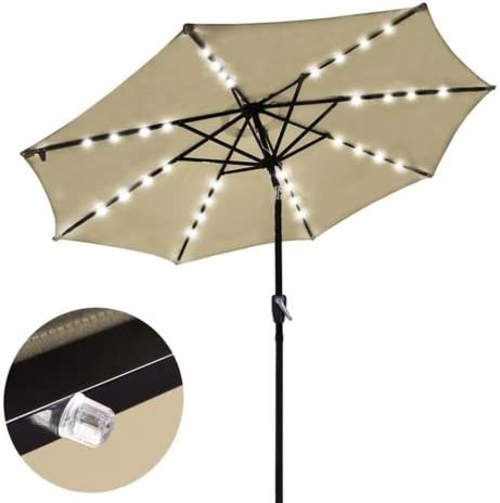 GC Global Direct 9 Ft Outdoor Tilt Umbrella with Solar LED Lights tan