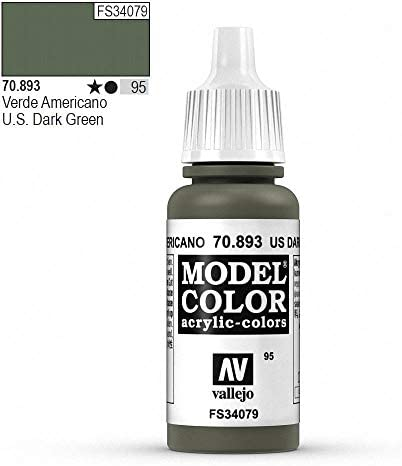 War World Gaming Vallejo Model Color Green - US Dark Green 70.893 - Wargame Miniature Figure Painting Assortment Modelling Wargaming Hobby Tabletop Model Paint Collection