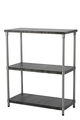 Home Zone Bookcase Storage Rack with 3-Tier Wide Shelving Unit | Steel and Wood with Satin Nickel Finish