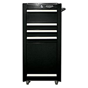 Viper Tool Storage V1804BLR 16-Inch 4-Drawer 18G Steel Rolling Tool/Salon Cart, with Bulk Storage, Black