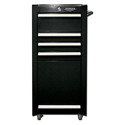 Viper Tool Storage V1804BLR 16-Inch 4-Drawer 18G Steel Rolling Tool/Salon Cart, with Bulk Storage, Black (4 Drawer Chest Cabinet)