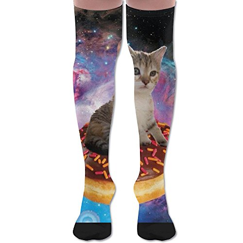 Kittens Cats In Space Donut Over Knee High Socks Sports Athletic Casual Tube