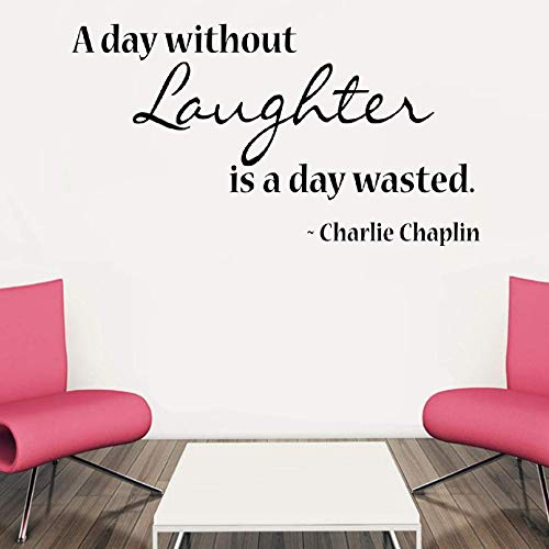 Wall Sticker Lettering Wall Art Sticker Removable Letters Quote Art A Day Without Laughter is A Day Wasted Charlie Chaplin for Living Room Bedroom