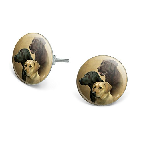 (GRAPHICS & MORE Labrador Retriever Trio Dogs Portrait Novelty Silver Plated Stud Earrings)