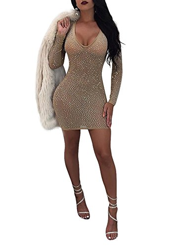 Stretch Neck Dress Mini Women's See Size Khaki Bodycon Party Acelyn Sexy Through Rhinestones Clubwear V Plus O04xntvn