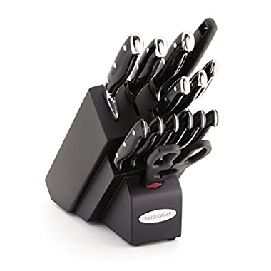 Farberware 15-Piece Forged Triple Rivet Knife Block Set, Black
